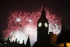 New Year's fireworks over Big Ben