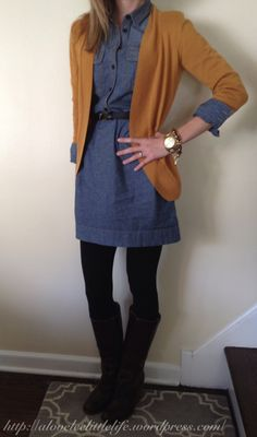 denim shirt dress + tights + boots + cardigan