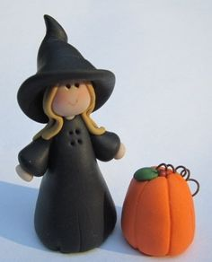 One Mini Witch with her miniature Halloween Pumpkin by cyndesminis, $12.00
