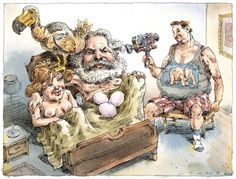 Illustration by John Cuneo of man wearing a GOP elephant T-shirt videotaping two naked people in bed with a dodo bird and a clutch of eggs.