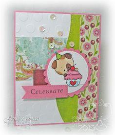 Glitter in my Hair, kitty bee designs, birthday card, digi stamp, kbd