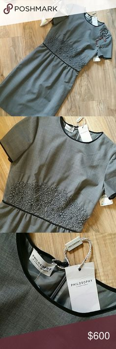 Italian NWT PHILOSOPHY Di Albert Ferretti DRESS NWT.  Philosophy for Di Alerta Ferretti. Gray dress.  Bust 33, waist 28, length 38.  Beautiful beautiful embroidery on the waist. Fully lined. Made in Italy Philosophy di Alberta Ferretti Dresses
