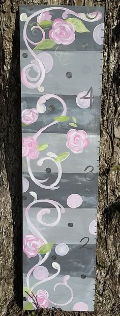 Grey and pink growth chart for girls hand painted flowers polka dots feminine baby shower gift nursery decor Modern Nursery Decor, Nursery Art, Nursery Ideas, Growth Chart For Girls, Growth Charts, Girls Hand, Painted Flowers, Pink Polka Dots, Pink Roses
