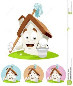 House Cartoon Mascot - Holding Mop Royalty Free Stock Image - Image: 21089636