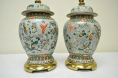 Pair Vintage Chinese Asian Oriental Hand Painted by Qualityiskey