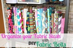 Do you find your sewing room a little NOT organized? Need some help organizing your fabric stash? These DIY fabric bolts will do just that!