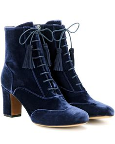 Tabitha Simmons | Blue Afton Velvet Ankle Boots | Lyst ~ Sadly, they appear to have zippers :'(  :'(   :'(   :'(