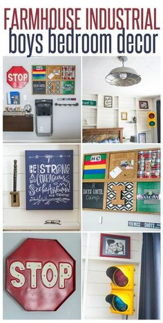 Home Interior and Design ~ Check out this boys bedroom reveal that's FULL of Farmhouse Industrial decor ideas!