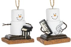 Set of 2 Keyboard and Piano S'mores Ornaments. 1 3/4'' W. x 2 1/2'' H. Item Sm170830.