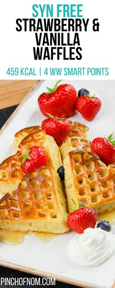 Syn Free Strawberry Vanilla Waffles Pinch Of Nom Slimming World Recipes 459 kcal Syn Free 4 Weight Watchers Smart Points Slimming World Waffles, Slimming World Puddings, Slimming World Free, Slimming World Desserts, Slimming World Recipes Syn Free, Slimming World Baked Oats, Slimming World Breakfast Muffins, Slimming World Syns, Syn Free Desserts