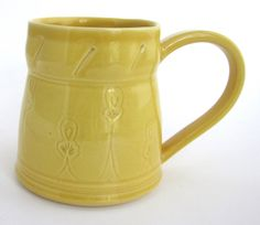 Unique Coffee Mug, Unique Coffee Cup, Handmade Ceramic Mug, Yellow Mug, Yellow Coffee Mug, Yellow Coffee Cup, Yellow Ceramic Mug, Great Gift by ACoupleofCranes on Etsy