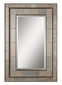 50 Rust Bronze Silver  Inlaid Mirror Framed Beveled Rectangular Wall Mirror -- This is an Amazon Affiliate link. Details can be found by clicking on the image.