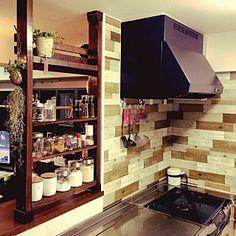 Kitchen/観葉植物/ハンドメイド/DIY/painting /ディアウォール...などのインテリア実例 - 2015-08-01 11:56:09 Liquor Cabinet, Kitchen Decor, Bookcase, House Design, Shelves, Storage, Interior, Room, Furniture