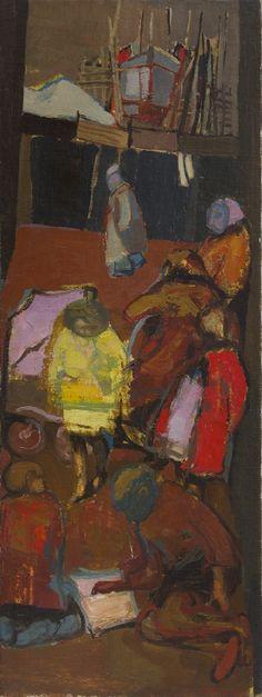 JOAN EARDLEY - Shipbuilder's Street, Oil on canvas, 37 x 13.5 ins