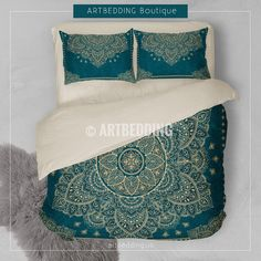 Bohemian style bedroom, Boho bedroom decor, mandala art bedding,  turquoise teal and gold mandala bedding .   I used 2 shades of dark teal that is one of the top trends for S/S 2017. Dark teal goes great with gold so I incorporated it as ancient gold shade color that gives this royal vintage feel to it. I selected handdrawn Indie Lotus mandala as a main element with a lot of details that would give the desired Ethno Bohemian look with a bit of spiritual feel to it.
