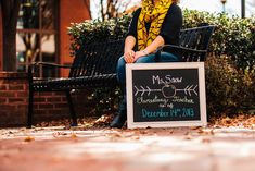 Best Friend College Senior Portrait Shoot at VCU - Monroe Park Campus in Richmond, VA. Becoming a teacher - check out her cute chalkboard announcement sign!