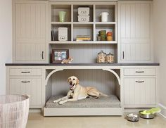 source: Casa Verde Design    Cottage mudroom features a built-in dog bed tucked…