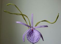 French beaded flower - Lavender Cattleya orchid - by Markingtime on Etsy.com