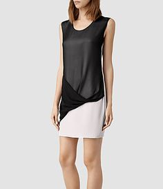 Womens Afia Dee Dress (Stone/Blk) | ALLSAINTS.com