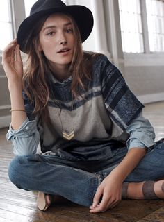 Love the idea of wearing a poncho with a button down underneath...very cute! From https://www.madewell.com/madewell_feature/ShopByLooks_2.jsp.