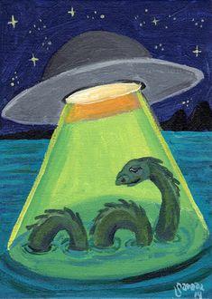 UFO abduction Loch Ness Monster PRINT 5 x 7 weird by ArtBySarada, $8.00