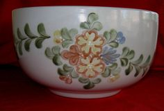 Rare Louisville Stoneware Country Flower Punch Bowl in Mint Used Condition