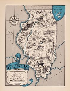 Rare ILLINOIS Map FUNKY 1930s Pictorial Map of Illinois Whimsical Map BLU 2424