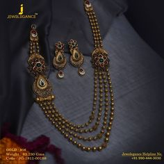 Gold 916 Premium Design Get in touch with us on Indian Wedding Jewelry, Indian Jewelry, Bridal Jewellery, Gold Choker Necklace, Antique Necklace, Gold Pendent, Long Necklaces, Jewelry Design, Designer Jewelry
