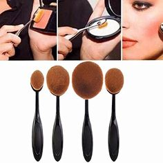 BESSKY 4PCs Big Toothbrush Brushes Makep Brush Set Loose powder Oval Big Cosmetic Tool * Visit the image link more details. (Note:Amazon affiliate link)