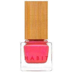 Habit Cosmetics 27 Camp A Coral Pink With Electric Pink Shimmer. (€16) ❤ liked on Polyvore featuring beauty products, nail care, nail polish, beauty, nails, makeup and cosmetics