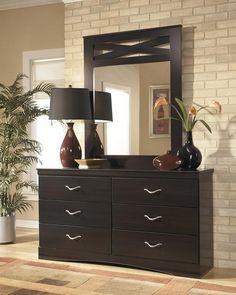 Jayla Dresser Bedroom Mirror Set 2pcs