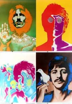 Beatles - set of four iconic original vintage posters featuring the Beatles: John Lennon, Paul McCartney, George Harrison and Ringo Starr, by Richard Avedon for Blick, listed on AntikBar.co.uk