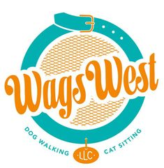 Nice typography. nice colors. suggests animals without showing one.  Wags West logo, Modern Dog Design