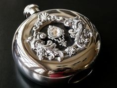Window Flask Round Hip Flask Window Luxury Liquor Flask Stainless Steel - 5 oz - Women Victorian Flask - Vintage Style Accessories