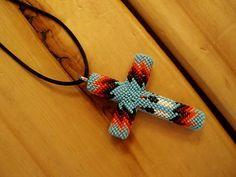 Beaded Cross Necklace by Melissa Big Medicine - Cheyenne