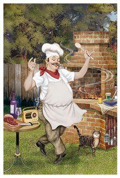 Napkin Decoupage, Decoupage Paper, Chef Kitchen Decor, Kitchen Art, Retro Barbecue, Chef Pictures, Recipe Book Templates, Foto Transfer, Vintage Cafe