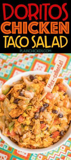 Doritos Chicken Taco Salad - you can't beat Doritos for dinner! Use a roti. Dorito Taco Salad Recipe, Taco Salad Doritos, Taco Salad Bowls, Taco Salad Recipes, Pasta Salad, Taco Taco, Taco Dip, Salad Bar, Rotisserie Chicken Tacos