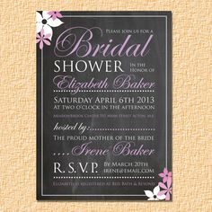 Chalkboard Bridal Shower Invitation Flowers by CuipaCreations