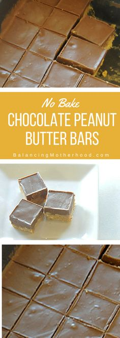 Simple no bake chocolate peanut butter squares. There's a secret ingredient that makes these better than a Reeses cup! Click through for the recipe.