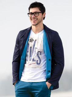 Giacca / Blazer da uomo double face azzurro e blu scuro Image 1