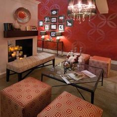 This is a stenciled wall I could easily confuse for wallpaper. Here the designer used the same color for both the wall and stencil, adding glaze for the stenciled portion, creating a dramatic result Decor, Red Accent Wall, Large Wall Stencil, Cozy Living, Floor Design, Home Decor, Living Spaces, Dining Room Walls, Home Deco