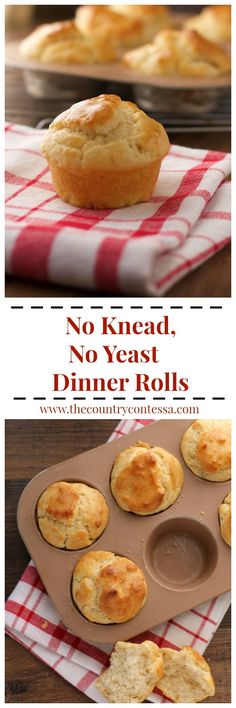 No Yeast Dinner Rolls No knead, no yeast dinner rolls just use four simple ingredients and are a great last-minute side dish.<br> A no knead, no yeast dinner roll is a fast quick-bread answer to your busy night! Just four ingredients and so versatile. No Yeast Dinner Rolls, Yeast Rolls, Bread Rolls, Nigella Sativa, No Yeast Bread, Bread Baking, Amish Bread, Easy Dinner Recipes, Breakfast Recipes