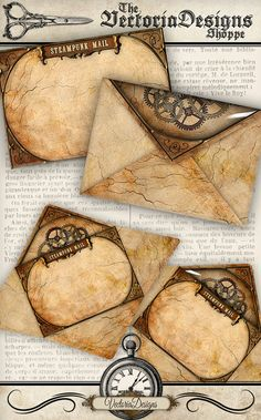 Steampunk Envelopes printable paper craft by VectoriaDesigns