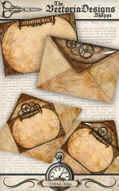 Printable Steampunk Envelopes  by VectoriaDesigns