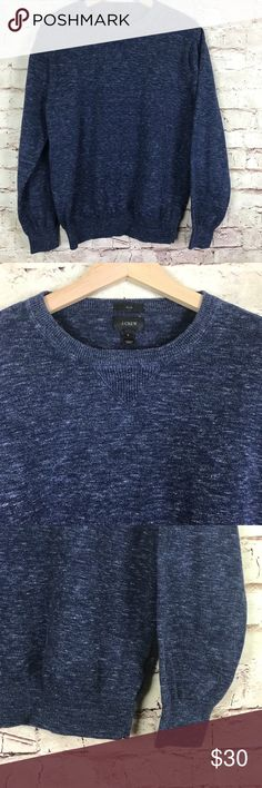 J Crew Mens Rugged Cotton Sweater Navy Blue Size L Lightweight sweater is slim fit; narrower cut through the body and sleeves. Approximate measurements: chest 21.5 inches; sleeve 24 inches; length 25 inches. J. Crew Sweaters Crewneck