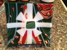Fused glass dish with red and green swirl by fusedglassbyjemima, $25.00