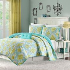 Mi-Zone Katelyn Coverlet Set in Teal & Reviews | Wayfair