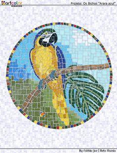 Mosaico - Arara Azul   Projeto - Os bichos - 2011 Tampo de 4…   Flickr