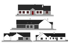 This design has a traditional Irish cottage front with traditional form and vernacular. The rear of the property is where the licence to introduce architectural flair was given, this is evident in … Modern Bungalow Exterior, Modern Bungalow House, Cottage Style House Plans, Rural House, Bungalow House Plans, Dream House Plans, Bungalow Ideas, Bungalow Designs, Small Bungalow