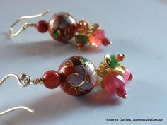 Vintage Asian Red Cloisonne Earrings Gold by AproposbyDesign